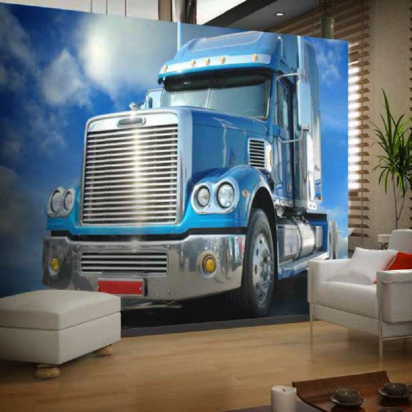 Wall Murals: Blue trailer cabin