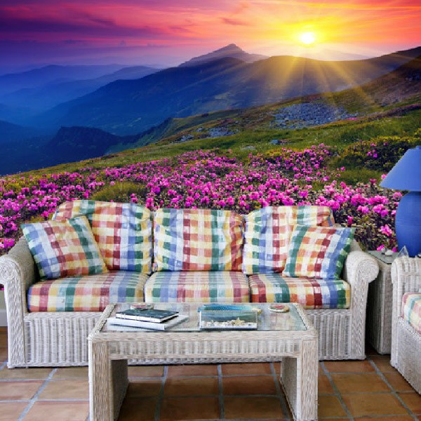 Wall Murals: Pink Flowers  Mountain