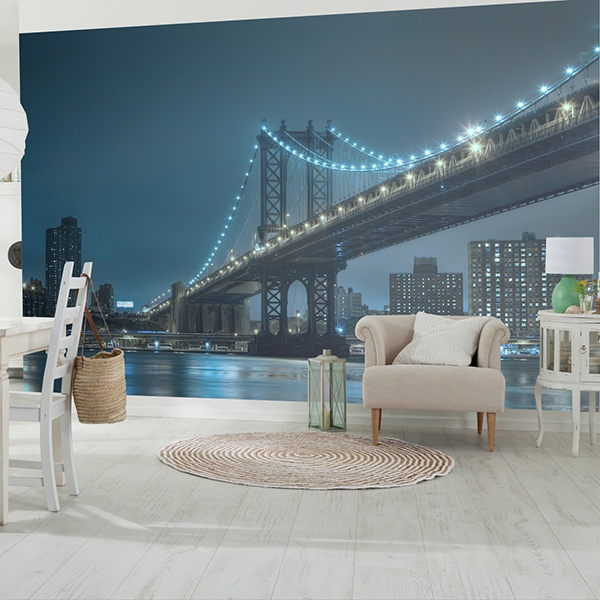 Wall Murals: Brooklyn with blue lights