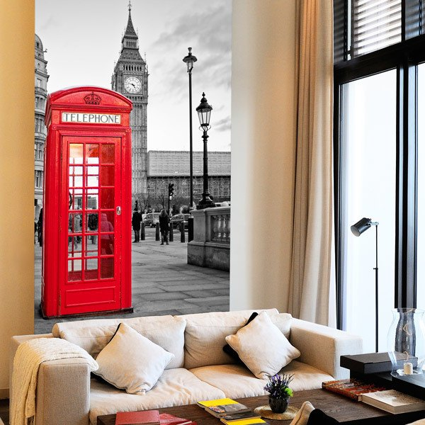 Wall Murals: London telephone booth 0