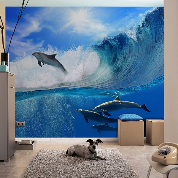 Wall Murals: Dolphins jumping the waves