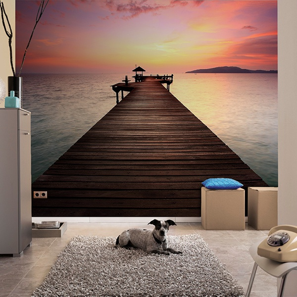 Wall Murals: Oriental pier at sunset