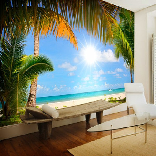 Wall Murals: Beach with palm trees