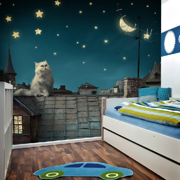 Wall Murals: Cat on the roof