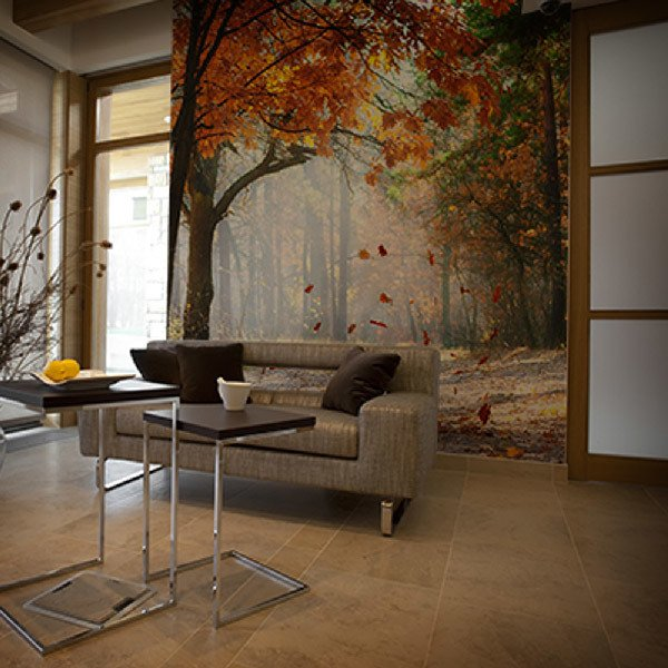 wall murals autumn forest