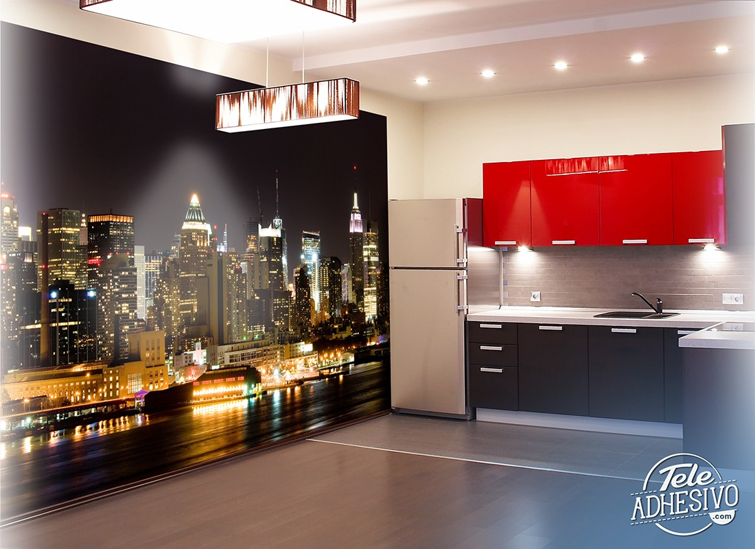 manhattan at night. Black Bedroom Furniture Sets. Home Design Ideas