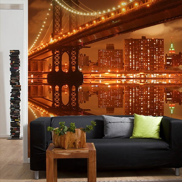 Wall Murals: Illuminated Manhattan Bridge 0