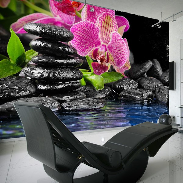 Wall Murals: Orchid and basalt