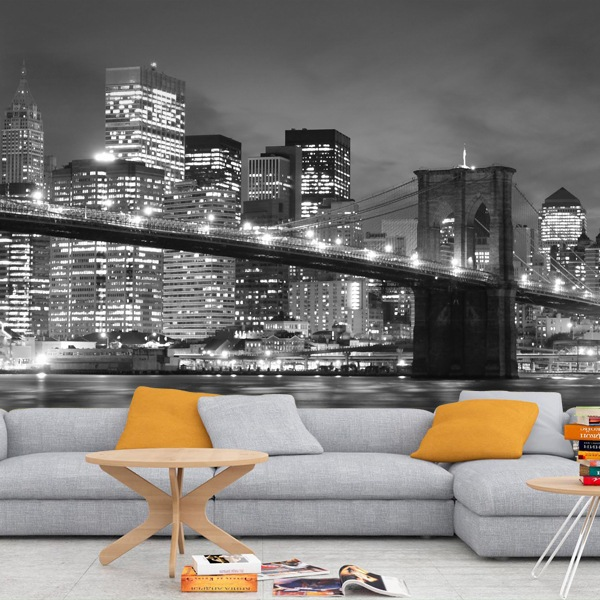 Wall Murals: Brooklyn Bridge in black and white