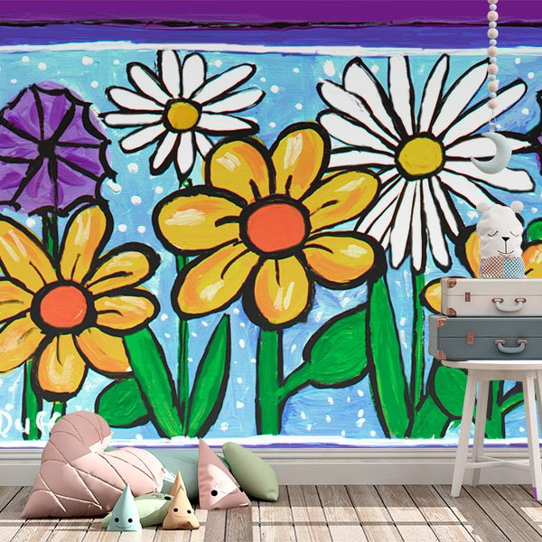 Wall Murals: Funny flowers 0