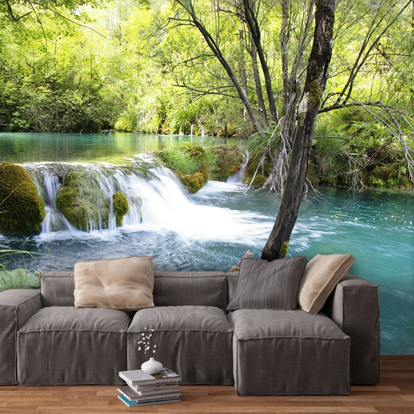 Wall Murals: Vegetation and river with waterfall 0