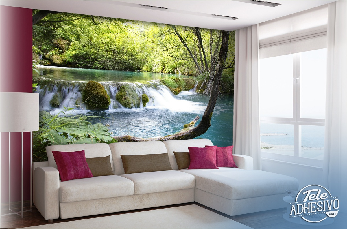 Wall Murals: Vegetation and river with waterfall