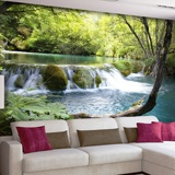 Wall Murals: Vegetation and river with waterfall 3