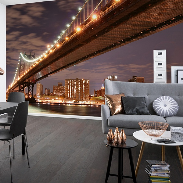 Wall Murals: Brooklyn Bridge dusk