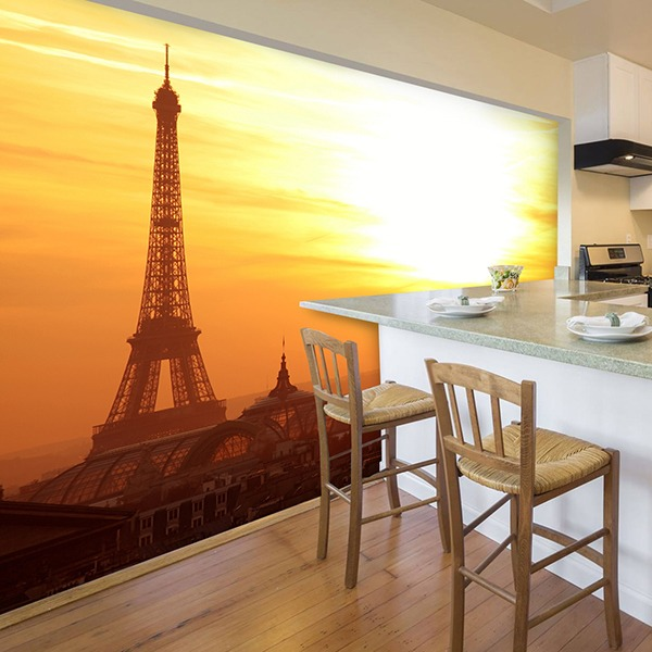 Wall Murals: Sunrise at the Eiffel Tower
