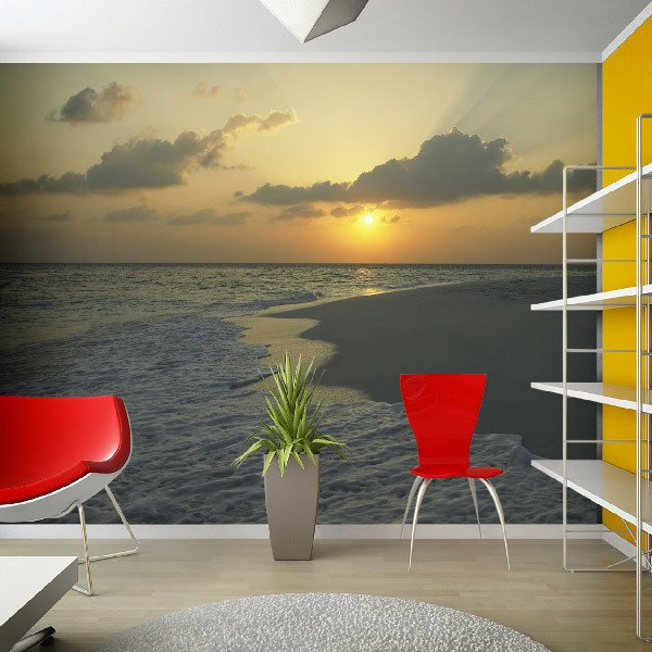 Wall Murals: Gray beach