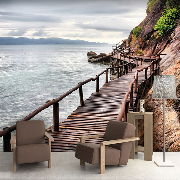 Wall Murals: Footbridge by the sea