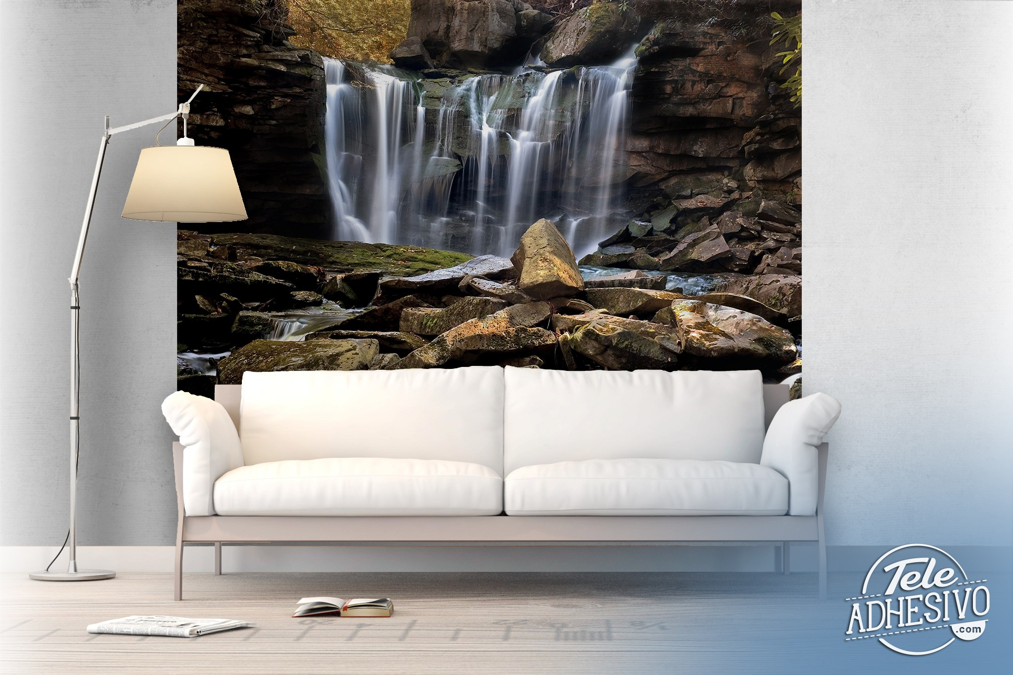 Wall Murals: Small mountain waterfall