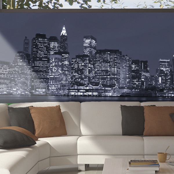 Wall Murals: Panoramic of Manhattan at night