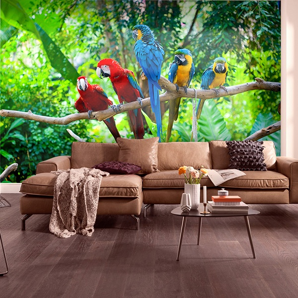 Wall Murals: Five parrots 0