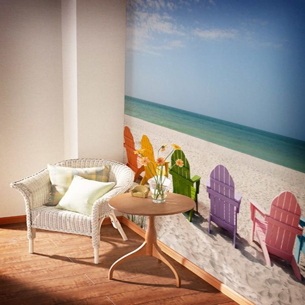 Wall Murals: Hammocks on the beach