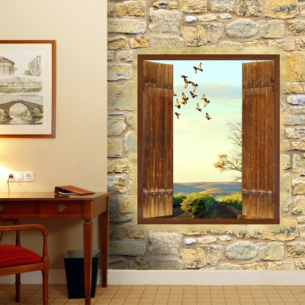 Wall Murals: Rustic window