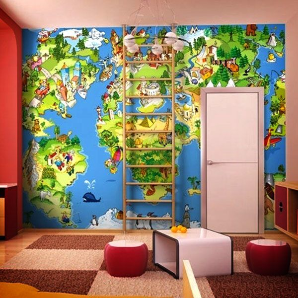 Wall Murals: Animated child world map