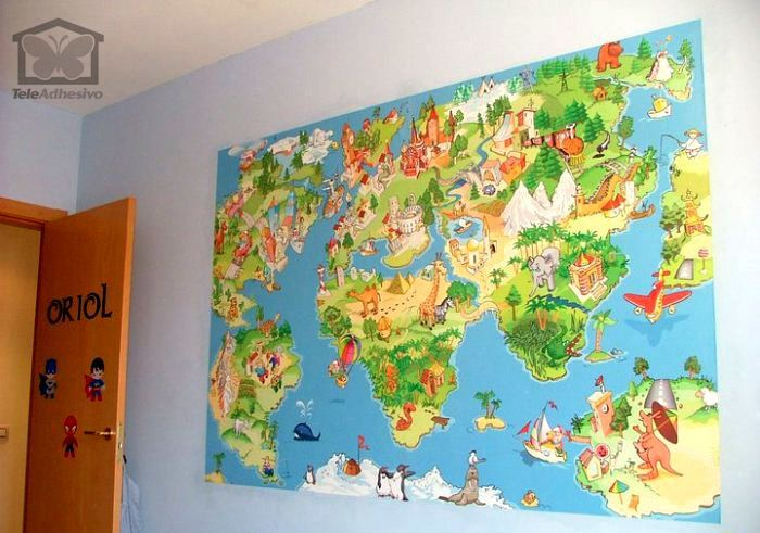 Wall Mural Animated Child World Map Muraldecal Com
