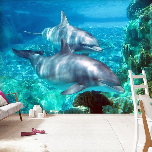 Wall Murals: Couple of dolphins
