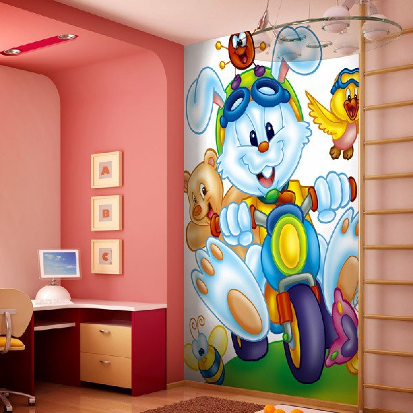 Wall Murals: Bunny on tricycle