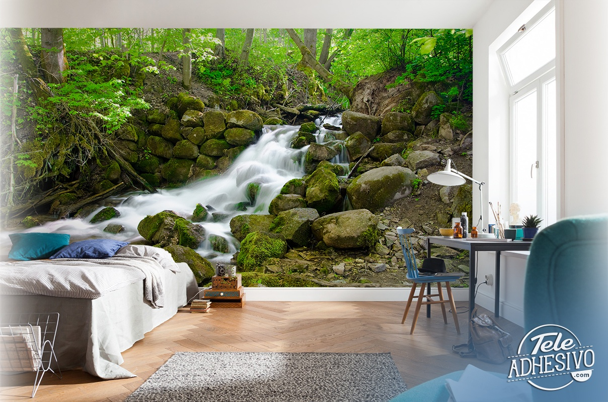 waterfall wall murals related keywords amp suggestions waterfall in spring wall mural buy at europosters