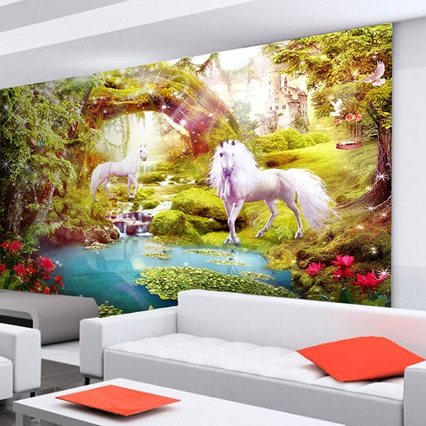 Wall Murals: Unicorns in the fantastic garden