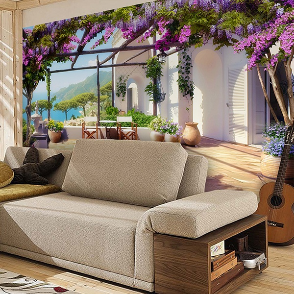 Wall Murals: Mediterranean beachfront terrace