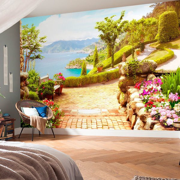 Wall Murals: Garden by the lake 0