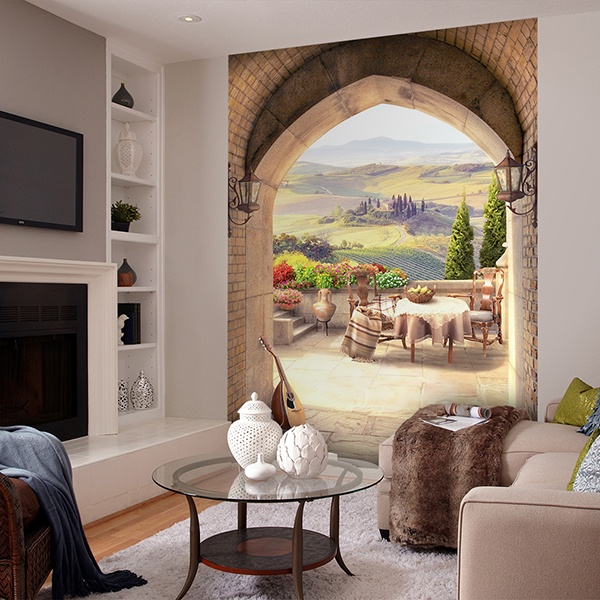 Wall Murals: Pointed arch in country house