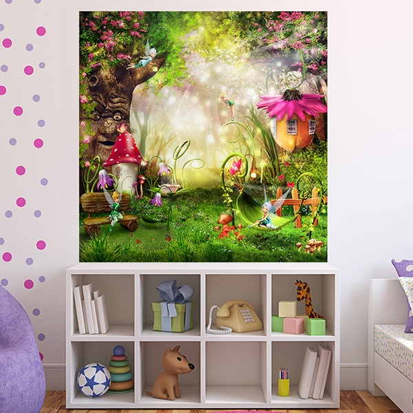 Wall decals wall stickers wall stickers for kids mural for Fairy garden mural