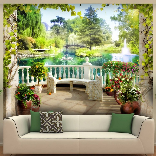 Wall Murals: View of the Lake of love