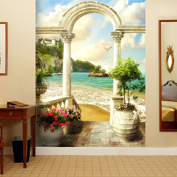Wall Murals: Classic porch on the beach 0