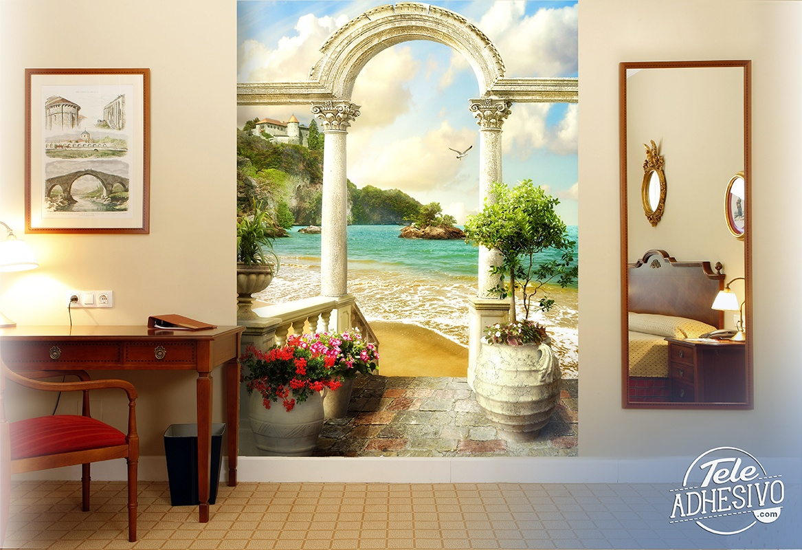 Wall Murals: Classic porch on the beach