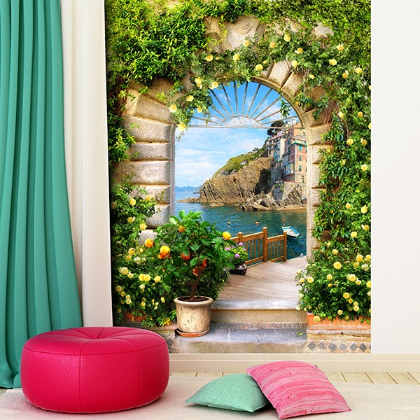 Wall Murals: Arch in mediterranean village