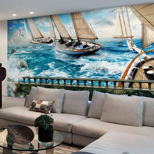 Wall Murals: Navigating between dolphins