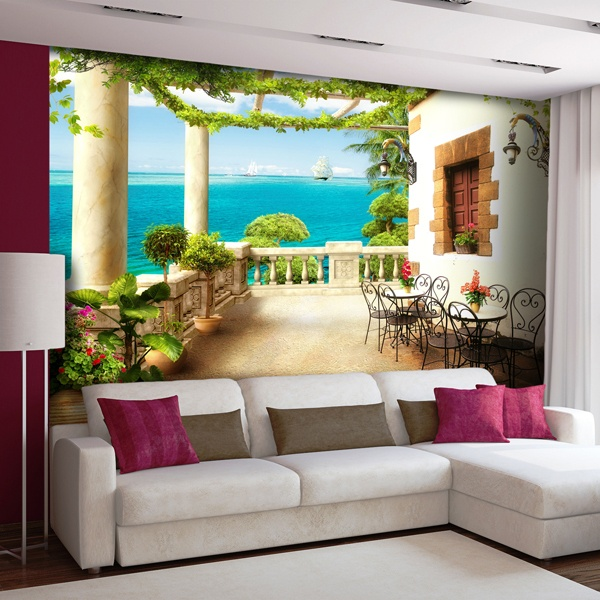Wall Murals: Terrace with sea view