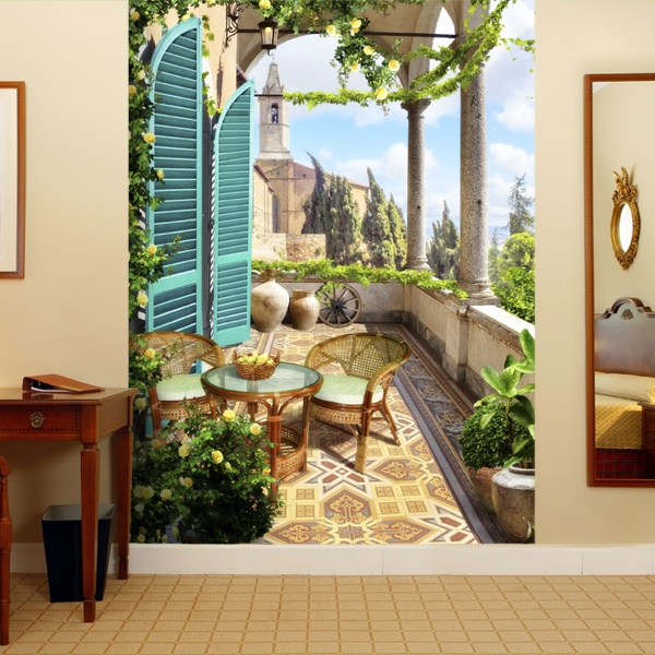 Wall Murals: Terrace in the village