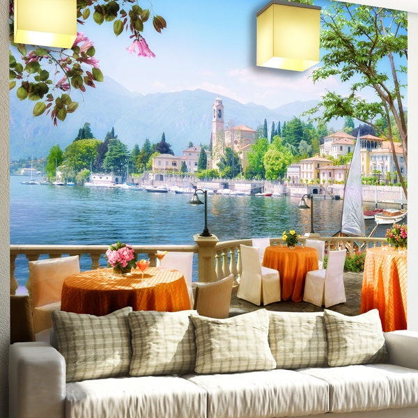 Wall Murals: Terrace overlooking a Lake