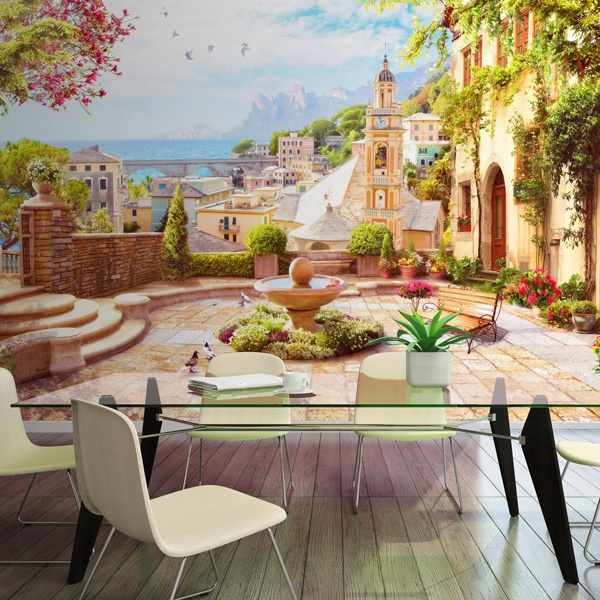 Wall Murals: Classic town square