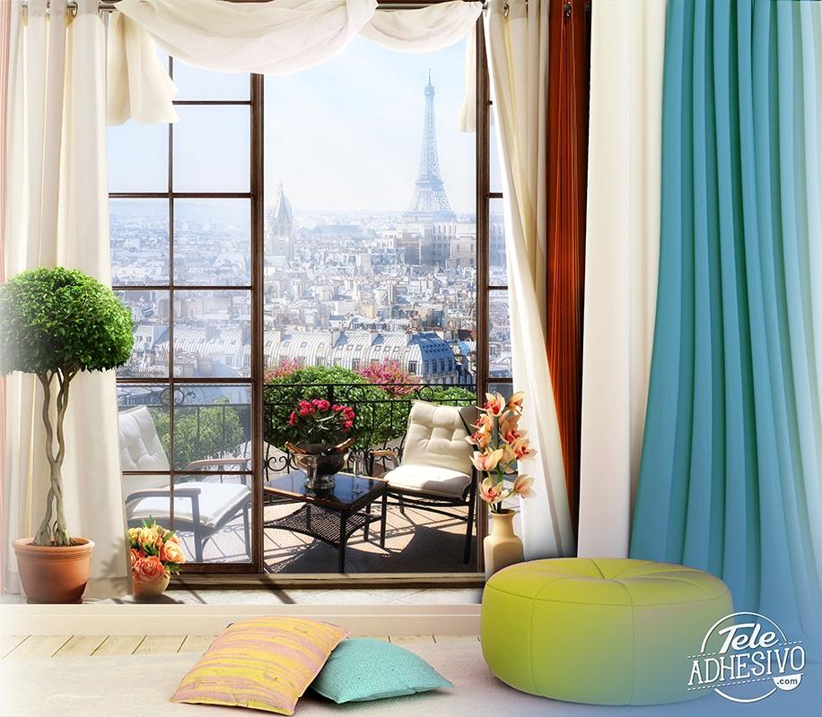 wall mural terrace in paris 2. Black Bedroom Furniture Sets. Home Design Ideas