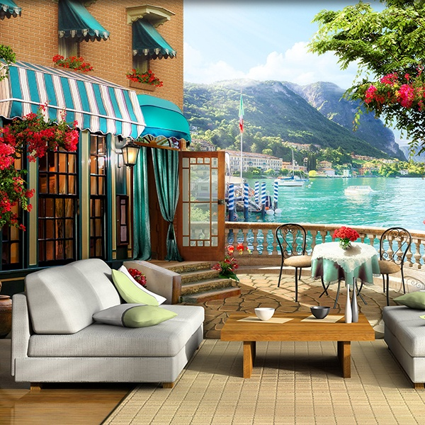 Wall Murals: Restaurant terrace by the lake