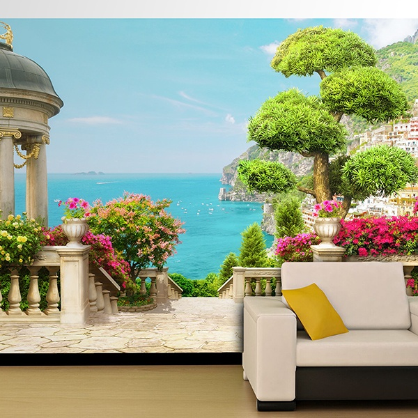 Wall Murals: Garden with sea views