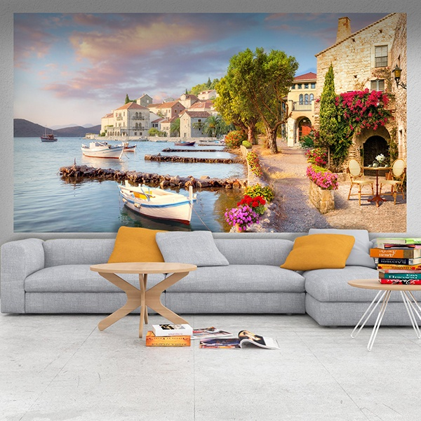 Wall Murals: Rustic town on the coast