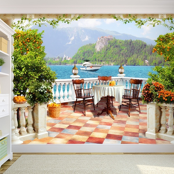 Wall Murals: Terrace with lake view